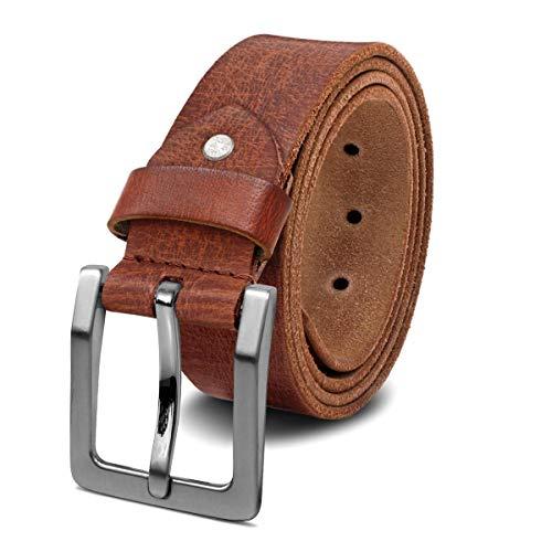 ROYALZ Antik Vintage Ledergürtel für Herren Büffel-Leder aus robusten 4mm Voll-Leder Jeans-Herren-Gürtel mit Dornenschließe 38mm, Größe:85, Farbe:Cognac Braun - Schnalle gebürstet (Kontrast-bund Hose)