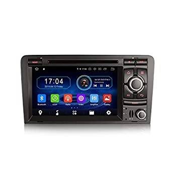 Erisin Android 9.0 Car Stereo Sat Nav Navigation DVD Player 2 Din for AUDI A3 (2003-2011) S3 RS3 RNSE-PU Support Bluetooth WiFi SWC A2DP RDS FM/AM DAB+ DVB-T2 OBD TPMS PX30 2GB RAM+16GB ROM
