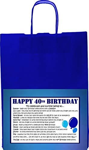 WISHES CAN COME TRUE ° ° ° ° ° ° ° ° ° ° Birthday Kit di Sopravvivenza Carta Regalo Regalo per Uomo, Scritta Dad Friend Uncle Brother Nephew Cousin papà Nonno, 40th Blue