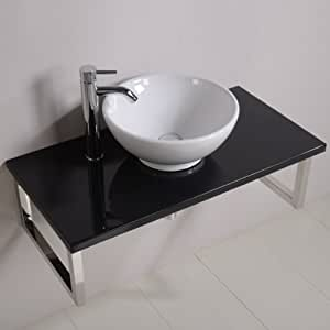 900 meuble lavabo avec vasque pour salle de bain toilettes ensuite tag re murale de luxe noir. Black Bedroom Furniture Sets. Home Design Ideas