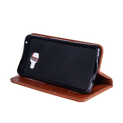 Horizontale Flip Stand Case Retro PU Leder Magnetische Verschluss Shell Abdeckung mit Lanyard & Card Slots für Samsung Galaxy A3 2017 ( Color : White ) Brown
