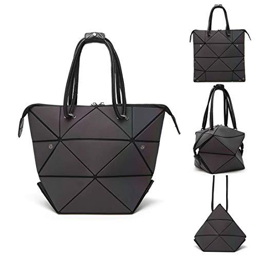 Gogoxm Geometrische Leuchtende Handtaschen für Damen Holographische PU-Leder Geldbörsen und Frauen Handtaschen Scherbe-Gitter-umweltfreundlicher holographischer Geldbeutel Schultertasche (Gitter-sling-rucksack)