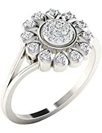 Silvernshine 0.21Ct Round Cut Sim Diamond Flower Wedding Engagement Ring In 14K White Gold PL