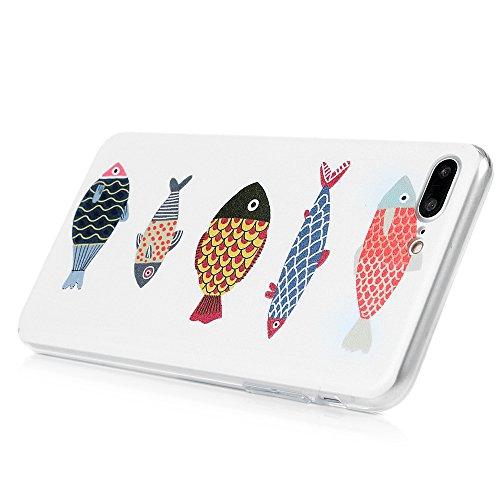 YOKIRIN iPhone 7 Hülle iphone 7 PC Hard Case Cover Bunt Painted Gemalt Transparent Rand Schutzhülle Handy Case Hartschale Skin Muster:Elefant Fünf Fische