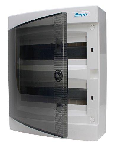 Preisvergleich Produktbild Kopp Aufputz-Verteilerkasten mit Tür 2-reihig für 24 Pole, 1 Stück, Grau/Schwarz, 350912048