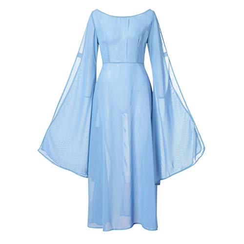 Indische Kostüm Blaue - SSUPLYMY Damen Kleid Vintage Mittelalter Kleid Cosplay Kostüm Langarm Prinzessin Gothic Kleid Lange Abendkleid Cocktailkleid Maxikleid für Weihnachts Karneval Festlich Party