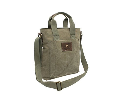 CACTUS toile et cuir Distressed mazouté Grab / Cross Sac CL811_81 Denim Body Khaki