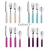 Exzact EX23-16 Teiliges Besteckset/Edelstahl-Besteck - Rostfreier Stahl mit farbigen Griffen - 4 x Gabeln, 4 x Messer, 4 x Esslöffel, 4 x Teelöffel (Türkis) - 4