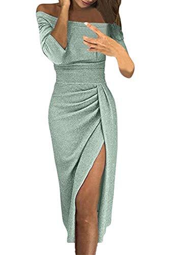 Jevvia Damen Schulterfrei Kleider Elegant Hochzeit Maxikleider für Brautjungfer Glänzend Hoch Geschnitten Abendkleider Partykleid Cocktailkleid -