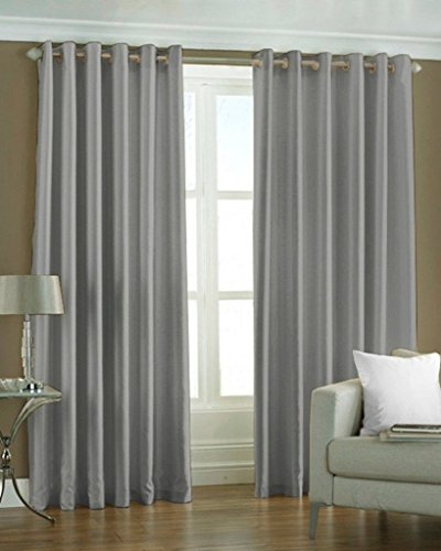 HAPPY DECOR Set of 1pc Premium Solid Fancy Semi-Blackout Elegant Ringtop Plain Polyester Eyelet 5ft Window Curtains - Grey