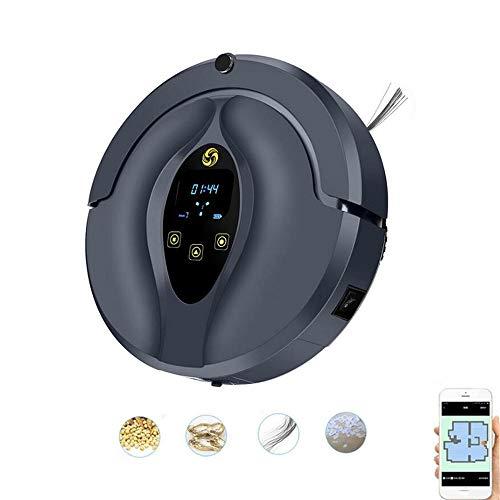 ZZAZXB Roboter Staubsauger Wi-Fi-Steuerung, Selbstaufladung, Visuelle Karte, Hohe Saugkraft Für Tierhaare Und Allergene, Hartböden Und Teppiche,Black