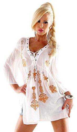 Bestickte Damen Crinkle-Tunika Bluse RETRO - White - Größe M-L - zum Schnüren - seitlich geschlitzt