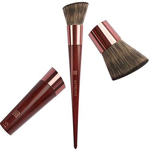 Fondation pinceau de maquillage Flat Top Kabuki Brosse pour Blending visage liquide, crème ou poudre Flawless Cosmétiques - écureuil Qualité haut de gamme fourrure et manche en bois