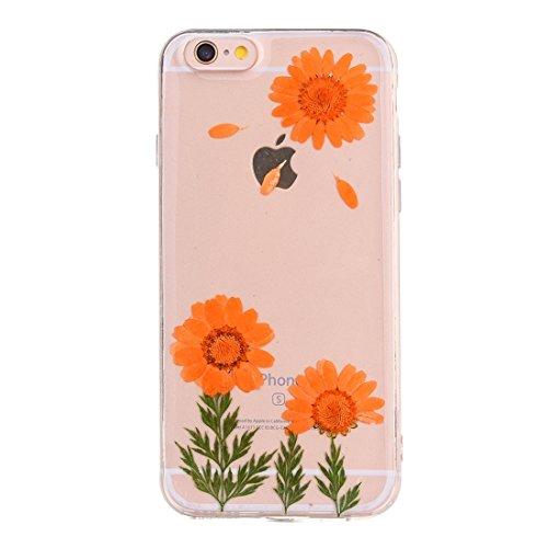 Wkae Epoxy Dripping gepresste echte getrocknete Blume weiche transparente TPU Schutzhülle für iPhone 6 & 6s ( SKU : Ip6g2996c ) Ip6g2996f