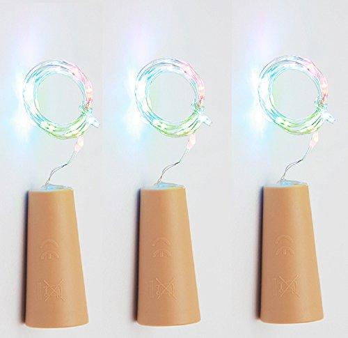 75cm Corcho Micro Luces LED para Botella de Vino,GZQES,Luz de la Secuencia del Alambre de Cobre del Corcho,Lámpara DIY Boda de Navidad Bar Deco Regalo o de Noche Luces,Color Multicolor (3)