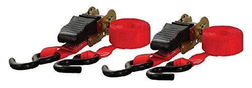 Red Rubber Strap (Curt 83001 Ratchet Straps Red 10'x1 Strap with Rubber Coated S-Hooks by Curt)