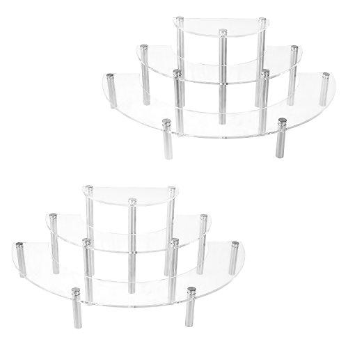 3-Tier-Klar Acryl Halbkreis Rund Cupcake Dessert Display Ständer Modern Set of 2 Farblos