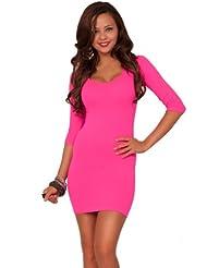 Manches longues à encolure transparente longueur robe de club 3/4 Trendy mi-cuisse Mini