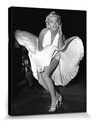 1art1 Set: Marilyn Monroe, Das Verflixte 7. Jahr, Weißes Kleid Poster Leinwandbild Auf Keilrahmen (50x40 cm) + 1x Aktions-Home-Deko Artikel