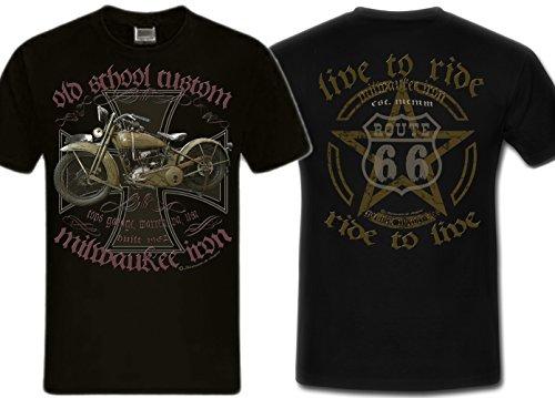 Biker Shirt T-Shirts Milwaukee Iron Chopper Bobber Route 66, Skull V2 Motorrad Bobber u. live to ride back