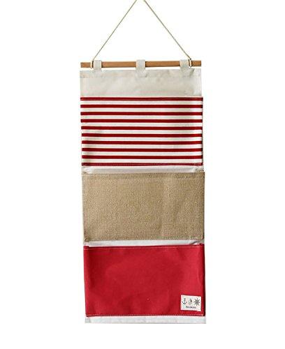 Kimjun Baumwollbeutel Streifen Spleissen Wand hängenden Beutel 3 Taschen Tür zurück Aufbewahrungstasche Hängenden Tasche Mehrschicht-Aufbewahrungstasche Multifunktionale Wohnzimmer Schlafzimmer Bad Utensilo - Rot