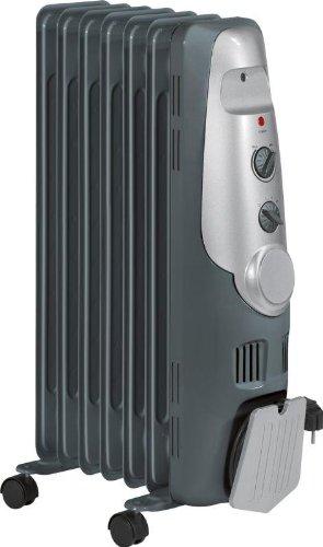 Radiator Standheizung Mobile Wärme mit Leichtlaufrollen Konvektor mit starken 1500 Watt inkl. 7 Rippen Ölradiator 3 Leistungsstufen praktische Kabelaufwicklung