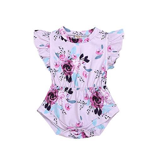 Kinder Baby Mädchen Kleidung Fliegen Ärmel Overall Blumendruck Strampler Body Outfits Sommer Niedlich Overall Freizeitspielanzug ()