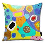 QMS CONTRACTING LIMITED Throw Pillow Cover Abstract Unusual Weird But Wonderful Colours Decorative Pillow Case Home Decor Square 18x18 Inches Pillowcase