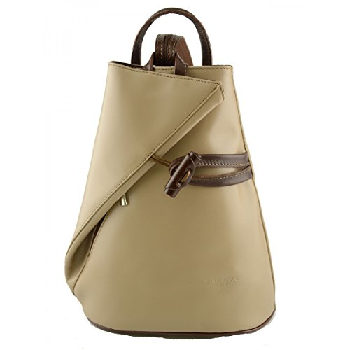Zaino In Vera Pelle Per Donna Con Bretelle A Cerniera Colore Taupe Marrone - Pelletteria Toscana Made In Italy - Zaino