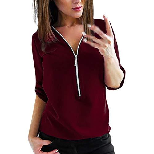 TEBAISE Damen Freizeit Bluse Chiffon Oberteile V Ausschnitt Reißverschluss Mode Hemd Elegante Tank Tops Manschetten-Ärmel Locker Shirt Oberteile(Wein Rot,M)
