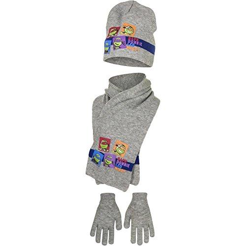 Palleon Turtles Jungen Kinder Mütze, Schal und Handschuhe Set 52 / grau