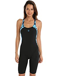 3eb530e9d3243 Halocline Abstract Swimming One Piece Body Suit Knee Length Swimsuit -  Black and Blue