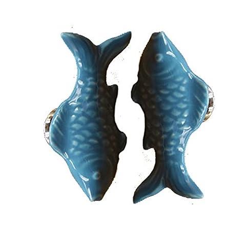 FBSHOP(TM) 2PCS Blau Nette Goldfisch Form Keramik-Türknauf Griff Kind-Raum Fun-Dekor Pull Knöpfe für Schrank / Schubladen / Schraenke / Schublade / Bad