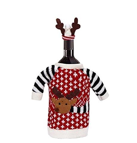 Oyedens Christmas EIK Wine Bottle Bag Cover Xmas Dinner Party Decor Ornaments