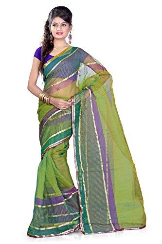 Araham Green Light Weight Faux Tissue Saree Sari with Blouse