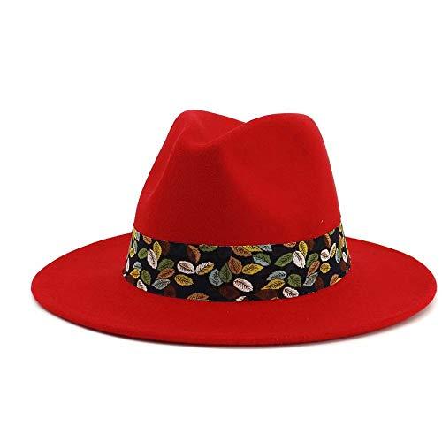Erwachsene Ducky Für Kostüm - VAXT Direkte Frauen Männer Fedora Hut Mit Gürtel Panama Hut Breiter Krempe Hut Pop Jazz Hut Außerhalb Cursory Hut (Farbe : Rot, Größe : 56-58)