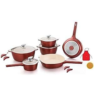 Royalty Line RL batterie de cuisine bordeaux - Revetement céramique (16 pieces)