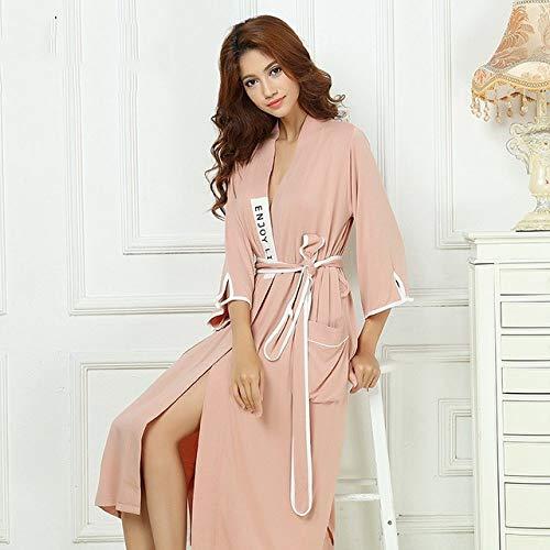 BKILF Bademantel Bamboo Herren Robe Bamboo Stain Bademantel Herren Nachtwäsche Modern Style Nachthemd Satin Soft Für Schlaf Valentinstag Sommer, Pink, XL