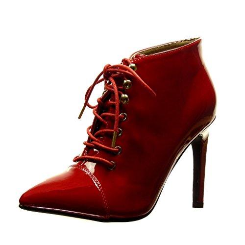 Angkorly Scarpe Moda Stivaletti Scarponcini stiletto low boots sexy donna metallico verniciato Tacco Stiletto alto 10.5 CM Rosso