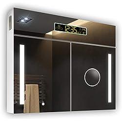 Armario de Baño con Espejo e Iluminado LED 66 x 72 x 17 cm | Interruptor, ESTACIÓN METEOROLÓGICA, Toma DE Corriente, Reloj, A++ | Blanco Alpino