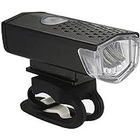 Nologo Luz de Bicicleta Recargable USB 300 Lumen 3 Modo Bicicleta Luz Frontal Luz de Bicicleta Luz LED Luz de Ciclismo, color 1 pieza negra., tamaño A