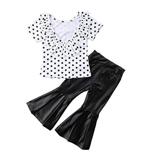 Schwarz Babyshirt (JHDghd Baby-Shirt mit Rüschen und Glöckchenhose, Schwarz/Weiß, 2 Stück 120 Farbe)