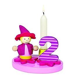 Goki – Portacandela con bambina, numeri sostituibili, in legno, colore: Rosa