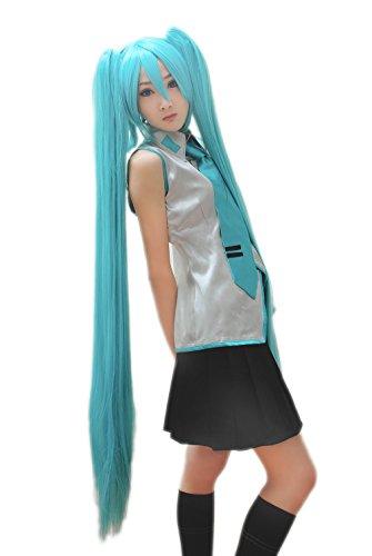 e Hatsune Miku Blau mischen grüne lange glatte Haare Cosplay (Senbonzakura Cosplay Kostüm)