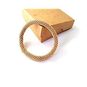 Gehäkelte Perlen Armband, Gold glasperlen rolle armband