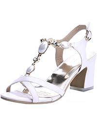 HighHeeled Dame Sandalen Nieten Mode Sexy Offene Zehe mit Ferse Schuhe, Rotwein, 41