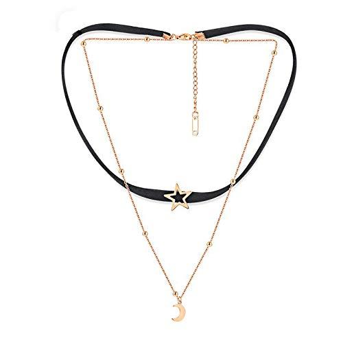 (CCDZ Umhängeband Kragen Clavicular Kette Stern Mond Flanell Doppelschicht Clavicle Halskette Hals Zubehör)