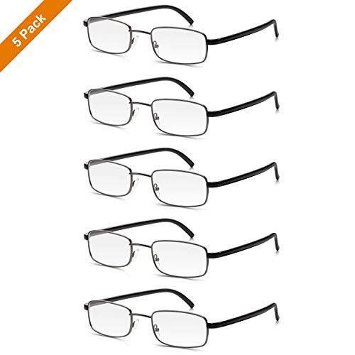 5er Pack Lesebrillen Stärke +2,5 Dioptrien: Hochwertige Read Optics Vollrand-Brillen für Damen/Herren im Sparset. Schlanke Fassung aus Stahl und Premium DifuzerTM Gläser. Vintage in Grau und Schwarz