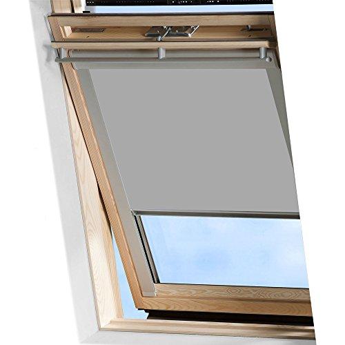 MCTECH Dachfenster Rollo Sonnenschutz Verdunkelung Thermorollo Jalousien Rollos (M08/308, Grau)