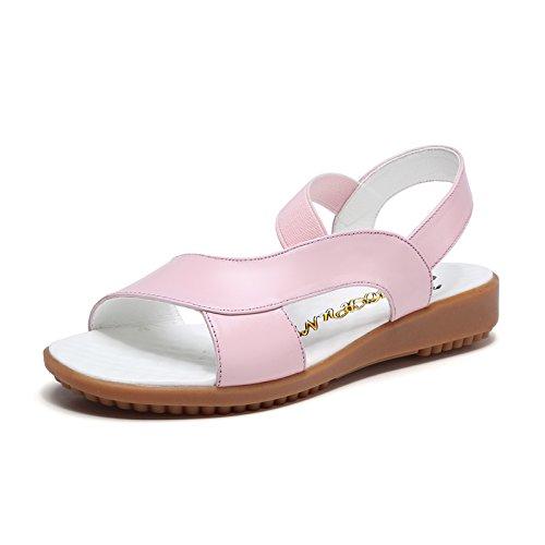 XY&GKDie Sandalen aus Leder Frauen flacher Boden einfache Komfort Rutschfestes schwangere Frauen flach die Ferse Mutter Sandalen, komfortabel und schön 37 Pink